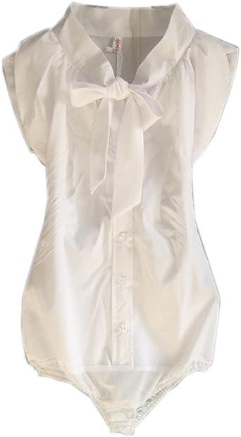 ZAMME De la Mujer de Manga Corta de la Pajarita Delgada Camisa Body Blusa Superior: Amazon.es: Ropa y accesorios