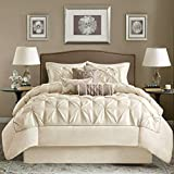 7pc Ivory Cream Puckered Comforter Queen Set, White Pintuck Solid Color Adult Bedding Master Bedroom Stylish Textured Tufted Pattern Classic Elegant Themed Traditional, Polyester