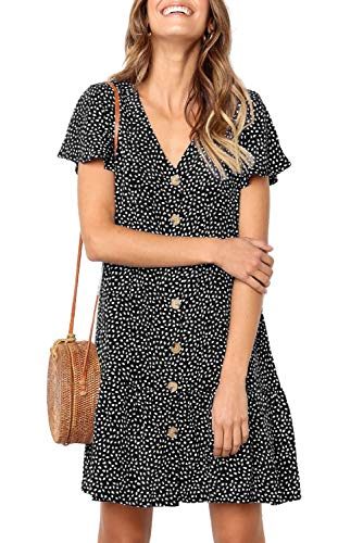 Black Button Front Dress - Mystry Zone Oversized Dresses for Girls Polka Dot Printed Petite Midi Dress with Buttons Front Black M