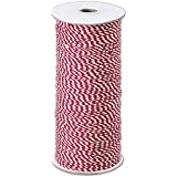 Ribbons Striped Pattern - Red and White Premium Bakers Twine, 2 MM x 250 Yds (1 Roll) - BOWS-BAKER-RED