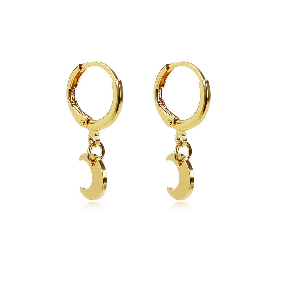 b141275c Women Girls Small Hoop Drop Earrings Star Moon Pearl Triangle Feather  Dangle Earrings
