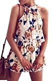 Floral Short Rompers Summer 2 Pieces Outfits Halter Crop Top Shorts Print Jumpsuits Rompers Playsuits (S)