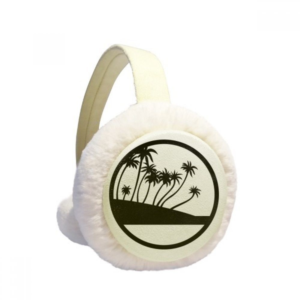 Black Coconut Tree Plant Beach Winter Earmuffs Ear Warmers Faux Fur Foldable Plush Outdoor Gift