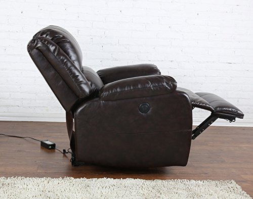 Madison Home Plush Bonded Leather Power Electric Reclining Living Room Chair - Brown