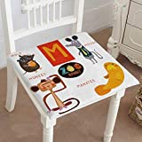 Mikihome Memory Foam Chair Pads Zoo Alphabet in Vector m Letter Cartoon Animals mole Mouse Monkey Cushion Perfect Indoor/Outdoor 18''x18''x2pcs