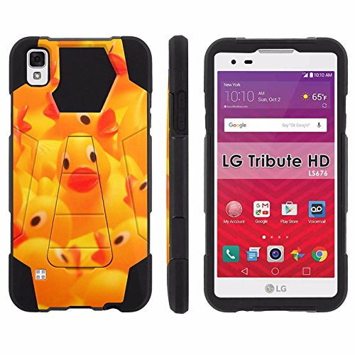 LG Tribute HD Phone Cover, Rubber Ducky- Hexo Hybrid Armor Phone Case for [LG Tribute HD] with [Kickstand] by Mobiflare (Ducky Elmos)