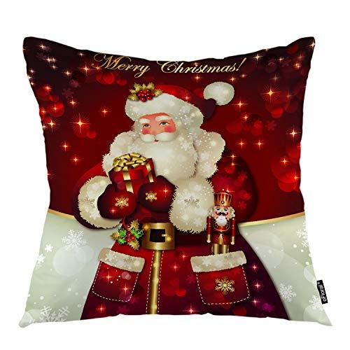 Decorative Santa Gift Box - oFloral Christmas Throw Pillow Cover Santa Claus Taking Gift Box Decorative Pillow Case Home Decor for Sofa Bedroom Car 18x18 Inch Pillowcase