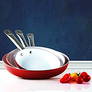 """Healthy Nonstick Ceramic Coated Frying Pan - 3 Pcs Eco Friendly Durable Fry Pan Cookware Set (8"""", 10"""" & 12"""" Pans)"""