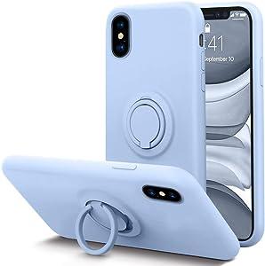 KUMEEK for iPhone Xs Max Case Fingerprint | Kickstand | Anti-Scratch | Microfiber Liner Shock Absorption Gel Rubber Full Body Protection Liquid Silicone Case for iPhone Xs Max-Light Blue
