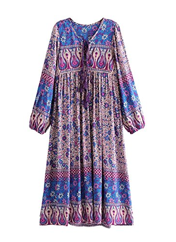 R.Vivimos Women's Long Sleeve Floral Print Retro V Neck Tassel Bohemian Midi Dresses (Purple, ()