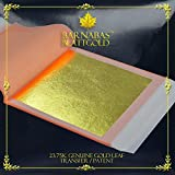Barnabas Blattgold - Genuine Gold Leaf Sheets, Professional Quality , 23.75 karat, 25 Sheets, 3-3/8 inches Booklet (Transfer/ Patent)