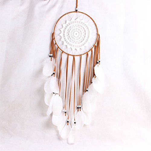 LingStar Handmade Traditional White Feather Dream Catcher Wall Hanging Car Hanging Decoration Ornament Gift Coffee
