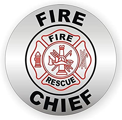 "1-Pc Radiant Unique Fire Chief Rescue Window Stickers Sign Mac Macbook Laptop Luggage Wall Graphics Hard Hat Labels Badge Decals Decor Vinyl Art Sticker Decal Patches Size 2"" Color Black/Red/Silver"