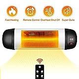 TRUSTECH Outdoor PatioHeater- 1500W Garage Heater w/Remote, 24H Timer Auto ShutOff OutdoorHeater,SuperQuiet3sInstantWarmWall Heater, Space Heater for Patio, Garage, New Year