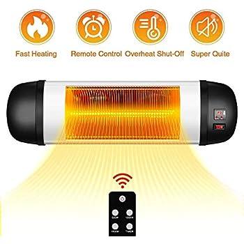 TRUSTECH Outdoor PatioHeater- 1500W Garage Heater w/Remote, 24H Timer Auto ShutOff OutdoorHeater,SuperQuiet3sInstantWarmWall Heater, Space Heater for Patio, Garage, Thanksgiving