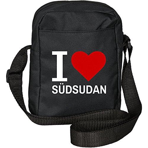 Umhängetasche Classic I Love Südsudan schwarz