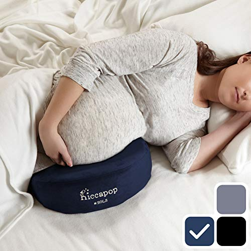 (hiccapop Pregnancy Pillow Wedge for Maternity | Memory Foam Pillows Support Body, Belly, Back, Knees (Navy Blue))