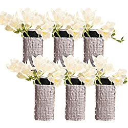 Chive - Weave, Small Square Ceramic Bud Flower Vase, Decorative Floral Vase for Home Decor Living Room Centerpieces and Events - Bulk Set of 6 Metallic Finish (Silver)