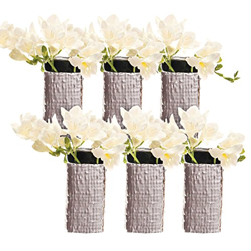 (Chive - Weave, Small Square Ceramic Bud Flower Vase, Decorative Floral Vase for Home Decor Living Room Centerpieces and Events - Bulk Set of 6 Metallic Finish (Silver))