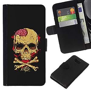 KLONGSHOP // Tirón de la caja Cartera de cuero con ranuras para tarjetas - Negro Cerebral Blood Crossbones Cráneo - Samsung ALPHA G850 //