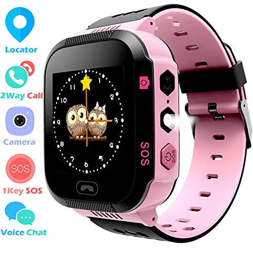 Kids GPS Tracker Watch for Boys Girls – Smart Wrist Watch with GPS Location SOS Alarm Clock Digital Watch Camera Flashlight Games for Children Compatible with iPhone/Android (Pink(Back SIM-in)) Review