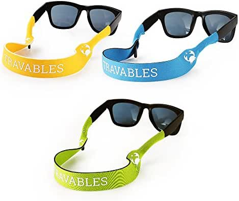 Travables TR-A02 Eyewear Retainer, Floating Neoprene Sunglass Holder Straps [Sunglasses NOT Included]