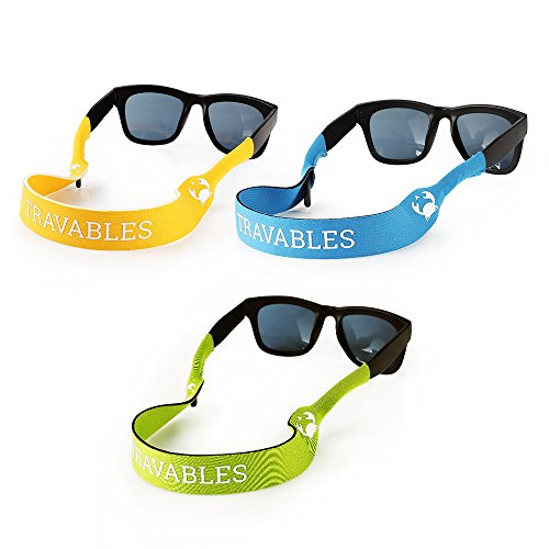Travables TR-A02 Eyewear Retainer, Floating Neoprene Sunglass and Glasses Holder Straps (3 - Rafting Sunglasses