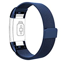 Fitbit Charge 2 Bands, Vancle Adjustable Milanese Loop Stainless Steel Metal Band Bracelet Strap with Magnetic Closure Clasp, No Buckle Needed for Fit Bit Charge 2 HR Fitness Tracker