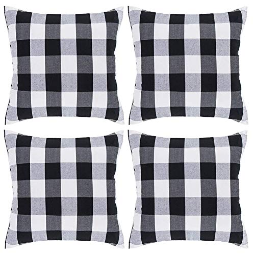Johouse White and Black Buffalo Check Plaid Throw Pillow Covers,4 Pack Cushion Case Cotton Polyester for Farmhouse Home Decor,18 x 18 Inches