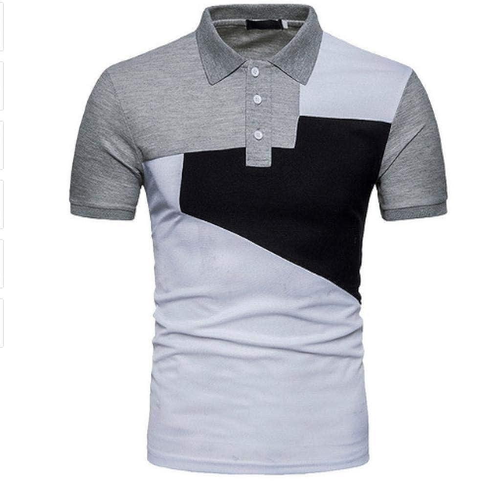Mens Slim Casual Stylish Fit Polo Shirts Tops Short Sleeve Block Color T Shirt