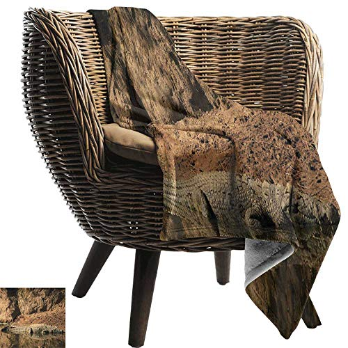 - AndyTours Throw Blankets Fleece Blanket,Africa,Nile Crocodile Swimming in The River Rock Cliffs Tanzania Hunter Geography Print,Brown Tan,300GSM, Super Soft and Warm, Durable 70