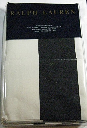 Set of 2 Ralph Lauren Seville Bold Stripe King Size Pillow Cases- Black & White -100% Premium Cotton- ()