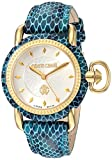Roberto Cavalli de Franck Muller Reloj MOVING CROWN DETAIL 'de acero inoxidable y cuero para mujer, color: azul (Modelo: RV1L017L0076)