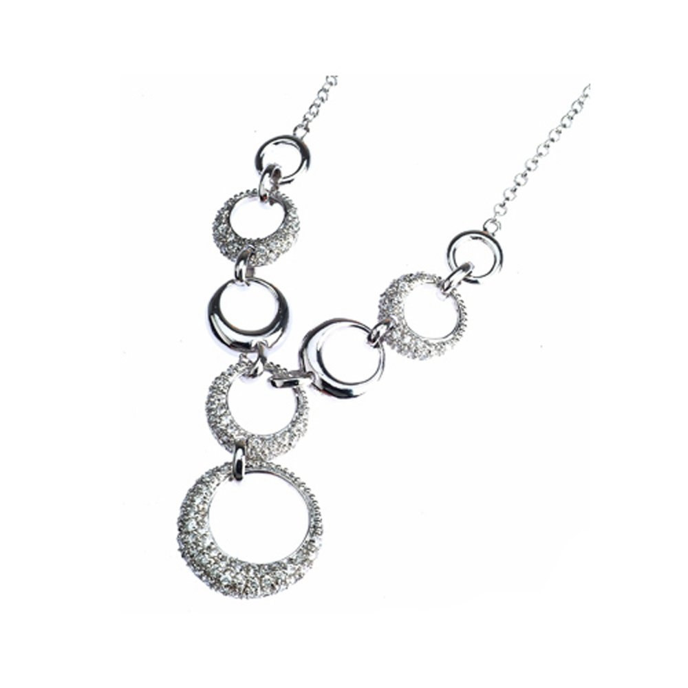 Sterling Silver 925 CZ and Shiny Circle Womens Necklace 16'' - The Royal Gift