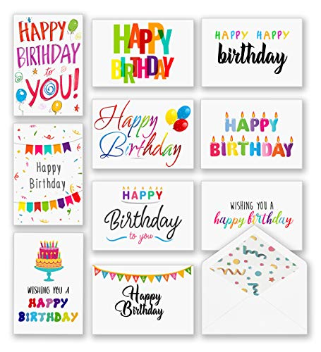 100 Happy Birthday Cards, Large Assorted Greeting Notes with Envelopes and Stickers, 10 Unique Designs, 5x7 Inch, Thick Card Stock Bulk Box Set (Best Card For Happy Birthday)