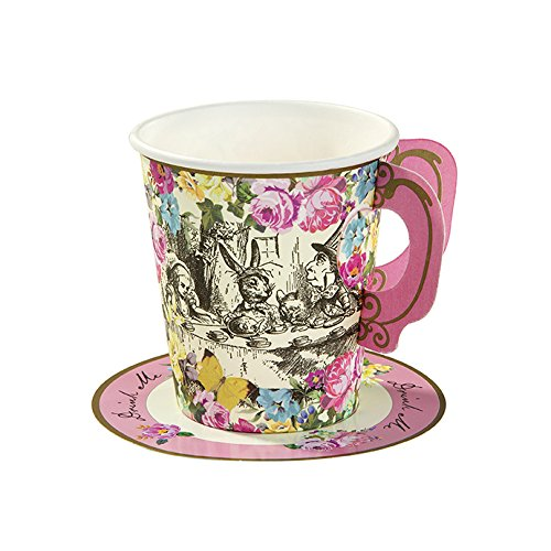 Talking Tables Truly Alice Whimsical Party Cup and Saucers 36 pack, Multicolor