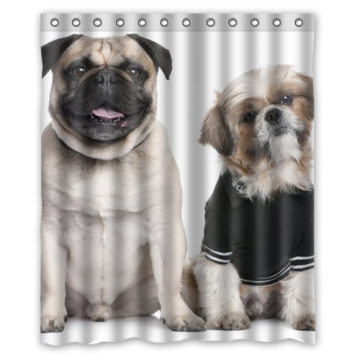 Amazoncom Pug And Shih Tzu Wear Clothes Shower Curtain 60 X 72