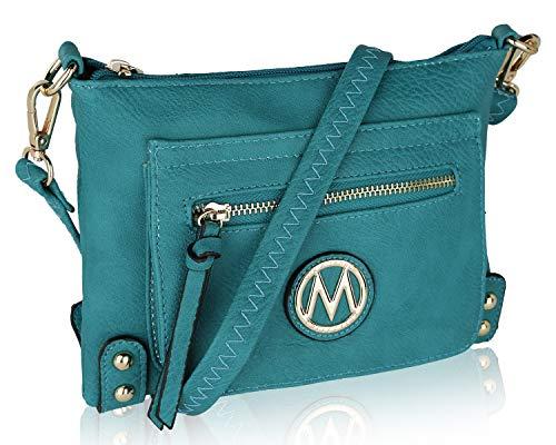 MKF Crossbody Bag for women - Removable Adjustable Strap - Vegan leather wristlet Designer messenger Purse Teal ()