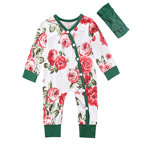 Baby Girls Outfit Floral Bodysuit Organic Kimono Romper Long Sleeve Creepers + Headband Clothes Set (Red, 0-6 Months)