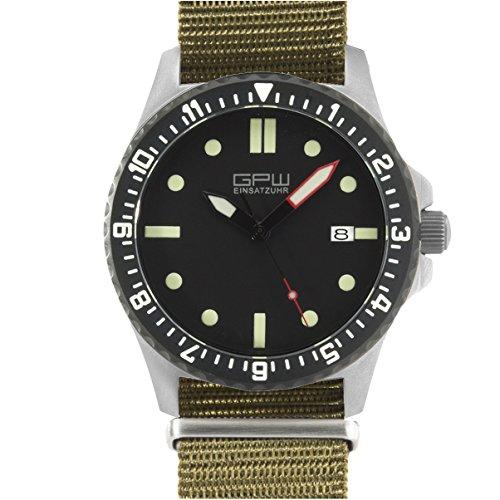 German Military Titanium Automatic Watch. GPW Date. 200M W/R. Sapphire Crystal. Olive Nylon Strap.