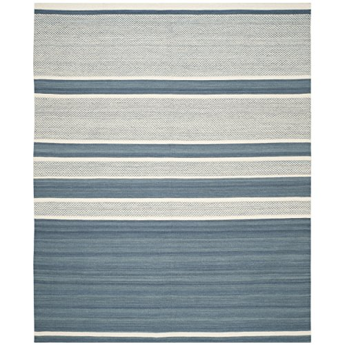 Safavieh Kilim Collection KLM952A Hand Woven Blue and Ivory Premium Wool Area Rug (9' x 12')