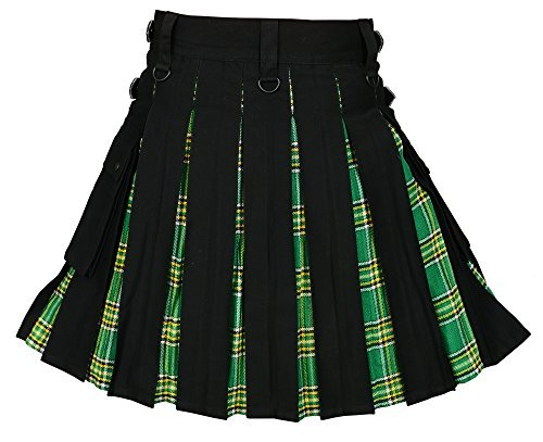 Men ' s Hybrid Utility Kilt Black & Irish Tartan (Belly Button 42)