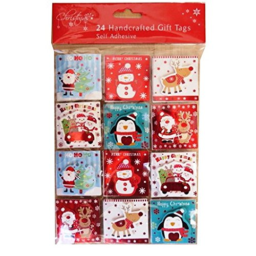 Christmas Hand Crafted Gift Tags - Cute Design - Pack of 24 - Colour and Foil - Hand Tags
