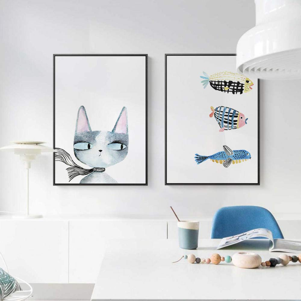 Mosaic Diamond Painting Cross Stitch Cheap Modern Wall Painting Cartoon Picture Cat and Fish Home Decoration Triptych Painting@Fish_45X60Cm by YANJUNHONG