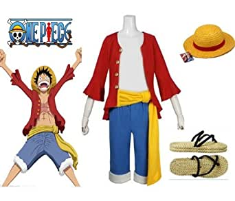 One Piece Monkey D. Luffy 2 Years Later Cosplay Costume + Hat and shoes,size XL