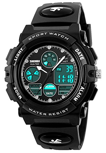 - Boys Watches for Kids Age 5-13 Waterproof Sports Digital Wrist Watches with Date Day Alarm Chime Stopwatch 1163-Black