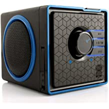 Portable Speaker by GOgroove - SonaVERSE BX Rechargeable Compact Speaker with Removable 3-5 Hour Battery, AUX & USB Inputs, Playback Controls for Thumb Drive, Little Cube Design, LED Accents [Wired]
