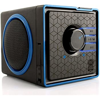 Ultra Portable Rechargeable Speaker by GOgroove - SonaVERSE BX - Removable & Swappable 3-5 Hour Battery, AUX & USB Inputs, Playback Controls for Flash Drive Music, Compact Cube Design, LED Accents