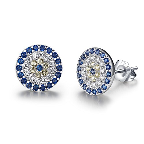 (Round Blue Evil Eye Stud Earrings Sterling Silver 925 Eardrop Cubic Zirconia Charms 9x9mm[Rhodium])