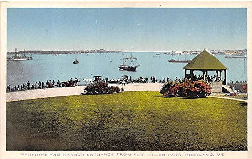Warships & Harbor Entrance from Fort Allen Park Portland Maine Postcard ()